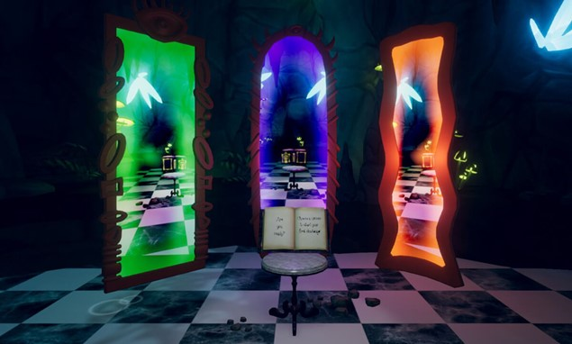 The player starts at the bottom of the rabbit hole, faced with a book and three mirrors.